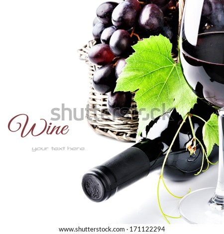 Bottle of red wine with freshly harvested grape  - stock photo