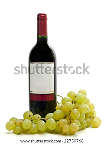 bottle of red wine with vine against the white background