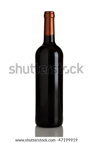 bottle of red wine without labels isolated