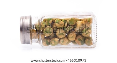 bottle of roasted Green beans snacks coated by flour and spicy isolated on white background