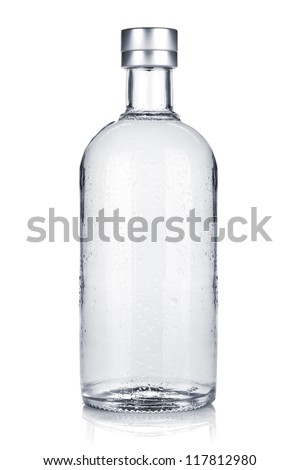 Bottle of russian vodka. Isolated on white background - stock photo