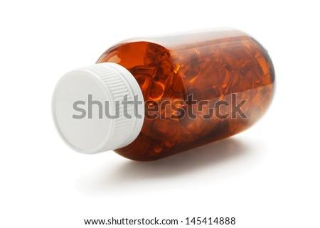 Bottle Of Soft Gel Fish Oil Capsules On WHite Background - stock photo