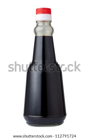 Bottle of soy sauce - stock photo