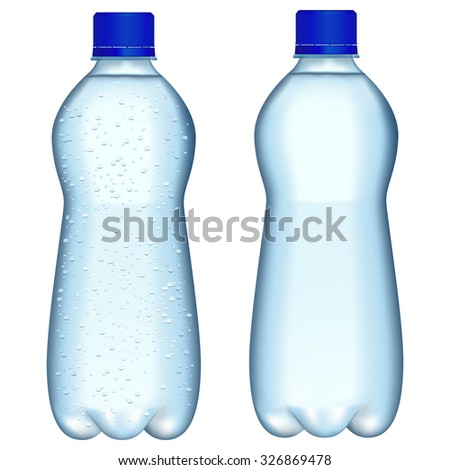 Bottle of sparkling water. Raster version. Isolated on white. - stock photo