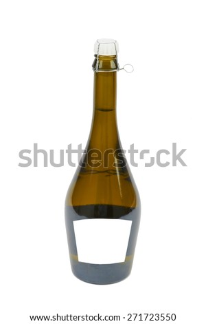 Bottle of sparkling wine and champagne isolated on white background - stock photo