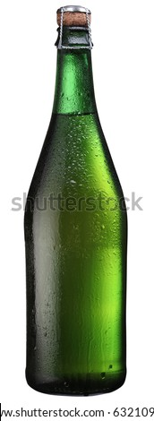 Bottle of sparkling wine isolated on a white. File has clipping path. - stock photo
