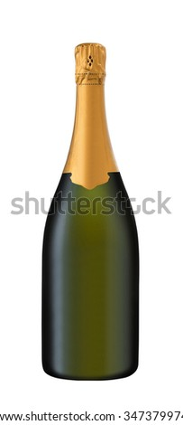 bottle of sparkling wine on a white background - stock photo