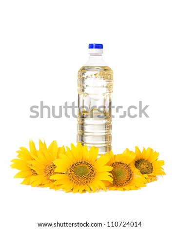 Bottle of sunflower oil with flower isolated on white background - stock photo