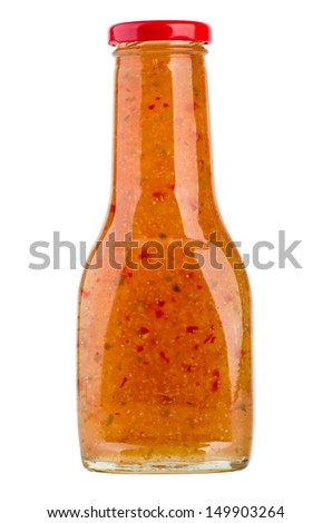 Bottle of sweet asian chili sauce isolated on the white background - stock photo
