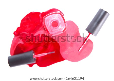 Bottle of the pink  anmd red nail polish isolated