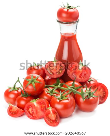 Bottle of tomato juice and tomato vegetables pile  isolated on white background