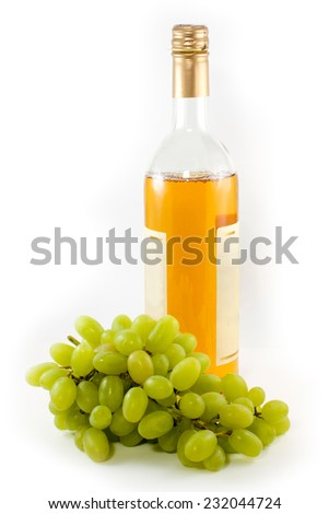Bottle of vine and grape isolated on white background - stock photo