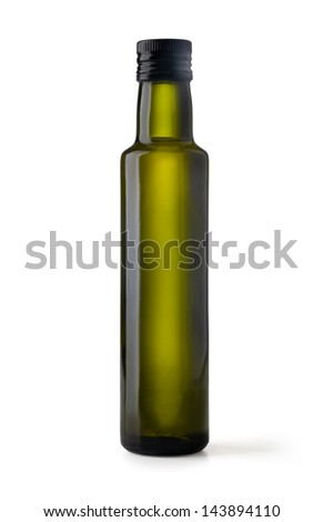 bottle of virgin olive oil on a white ground - stock photo