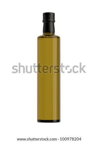 bottle of virgin olive oil on a white ground, pack shots. - stock photo