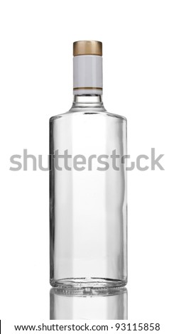 Bottle of vodka isolated on white - stock photo