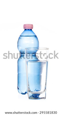 Bottle of water and glass isolated on a white background