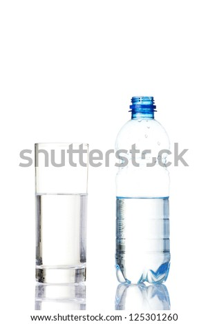 Bottle of water and glass. Isolated on white. - stock photo