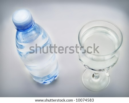 Bottle of water and glass on a white background