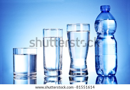 Bottle of water and glass on blue background - stock photo