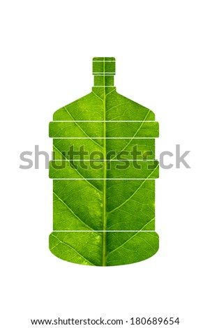 Bottle of water made of green leaf isolated on white background,green eco energy concept. - stock photo