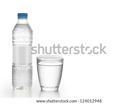 Bottle of water with a glass - stock photo