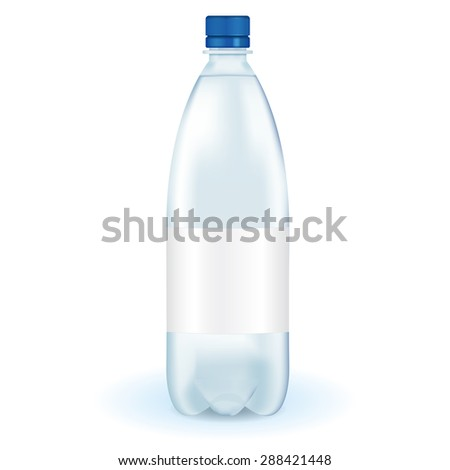 Bottle of water with blank label. isolated on white. Raster version - stock photo