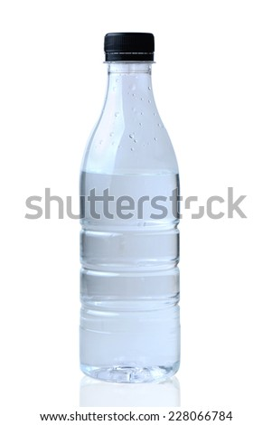 bottle of water with clipping path - stock photo