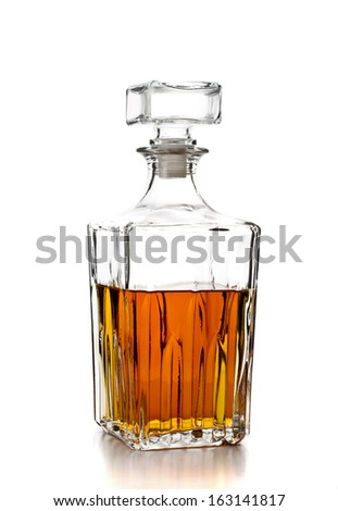 bottle of whiskey on white background