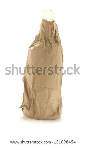 Bottle of whiskey, rum, beer, wine, booze, vodka wrapped in a brown paper bag