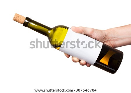 bottle of white wine in his hand isolated on white background - stock photo