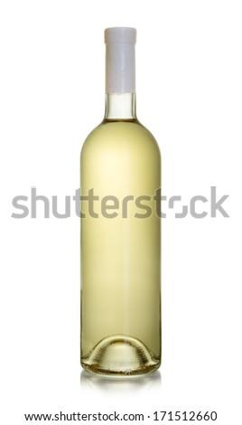 Bottle of white wine isolated on white background - stock photo