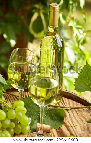 Bottle of white wine with wineglass and grapes on garden terrace - stock photo