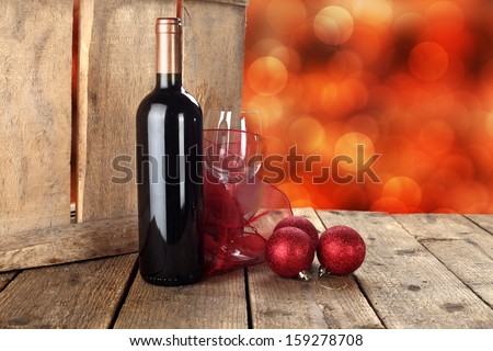 bottle of wine and desk  - stock photo