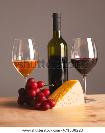 bottle of wine and glass on the table