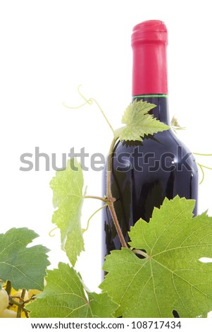Bottle of wine and grape leaves. - stock photo
