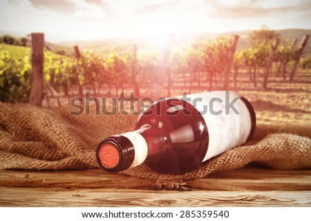 bottle of wine and summer sunset  - stock photo