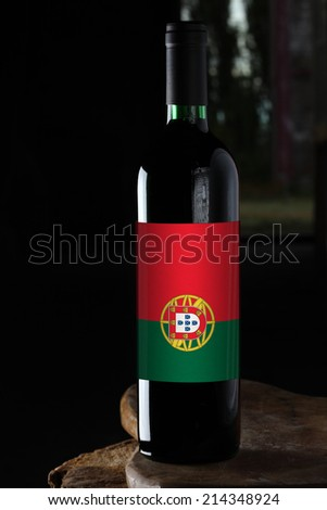 bottle of wine from Portugal - stock photo