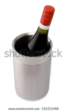 Bottle of wine in a wine cooler - stock photo