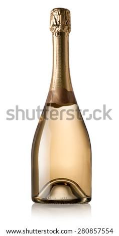 Bottle of wine isolated on a white background - stock photo