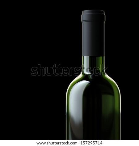Bottle Of Wine Isolated On Black Backgroud  (Illustration For Grocery Advertising) - stock photo