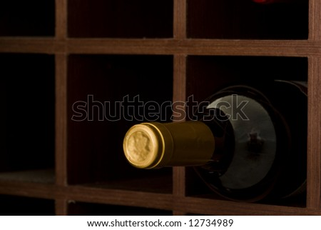 bottle of wine on cave - stock photo
