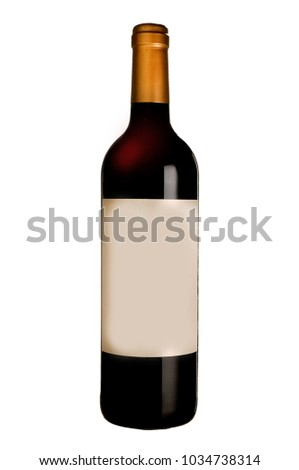 bottle of wine on white background
