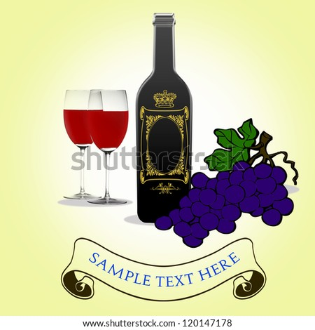 Bottle of wine, two wineglasses and grapes - stock photo