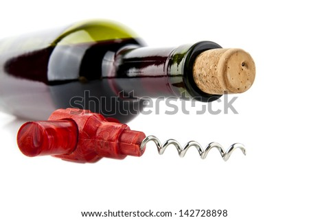 bottle of wine with corkscrew  on a white background - stock photo