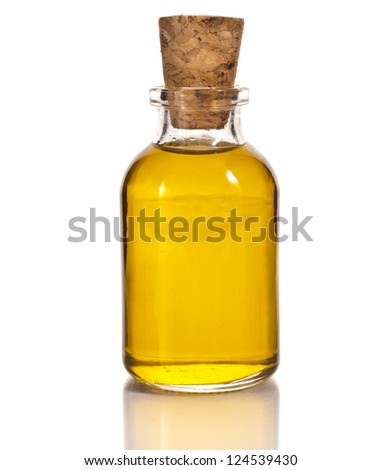 bottle oil isolated on white background - stock photo