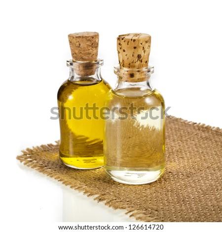 bottle oil isolated on white background - stock photo