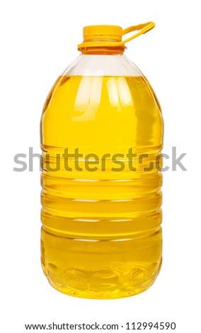 bottle oil plastic big on white background - stock photo