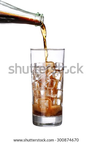 bottle pouring coke in drink glass with ice cubes Isolated on white background - stock photo