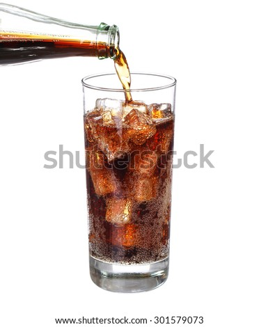 bottle pouring in drink glass with ice cubes Isolated on white background