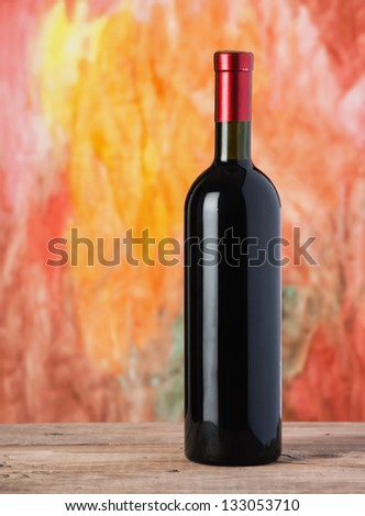 bottle red wine - stock photo